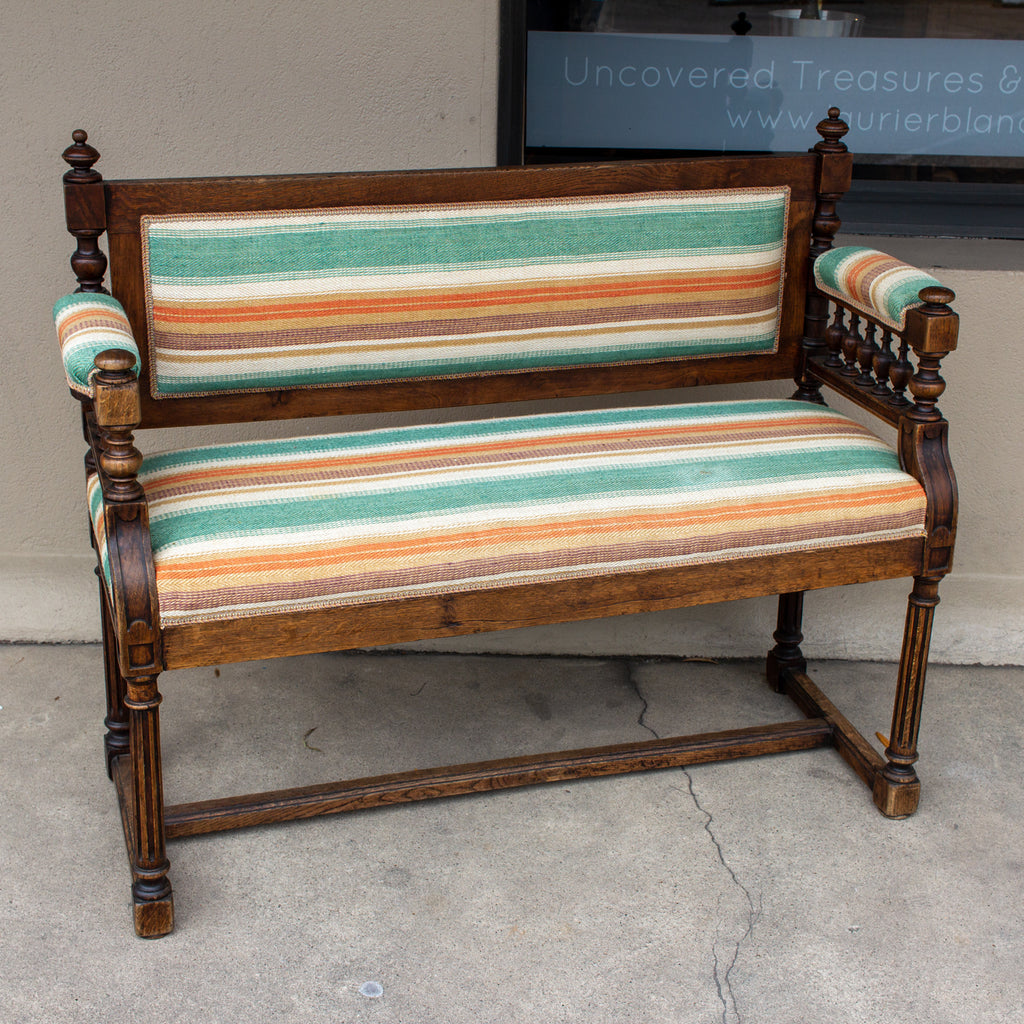 19th c French Carved Wood Hall Bench with Upholstery