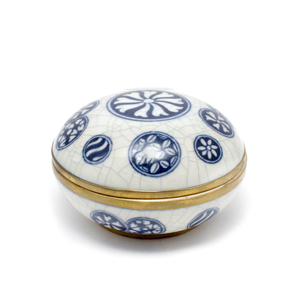 Blue & White Porcelain Medallion Patterned Container from Thailand
