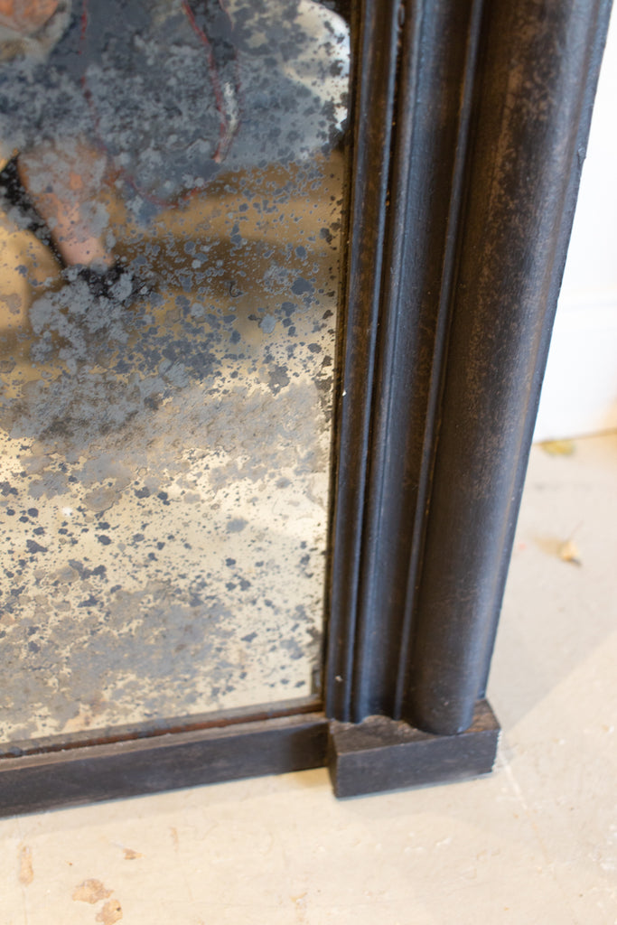 Antique French Full-Length Mirror in Hand-painted Black Frame