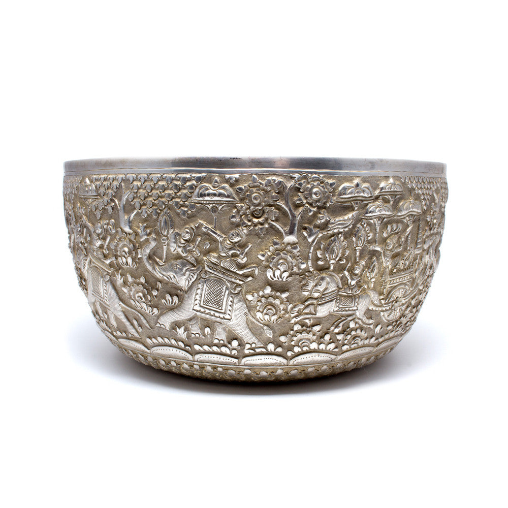 Handcarved Silver Bowl from Cambodia - Elephant Pattern
