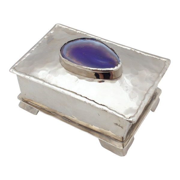 Hand Crafted Silver Box with Purple Agate from San Miguel