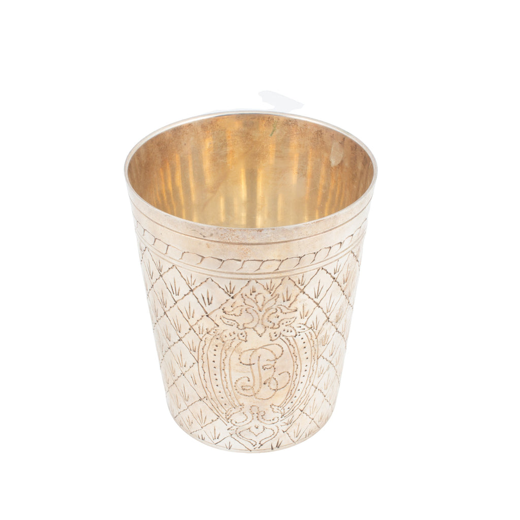 Antique French Engraved Silver Cup
