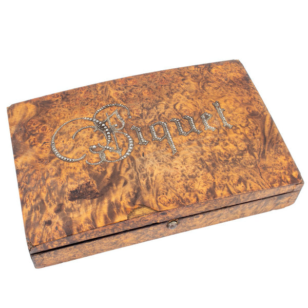 "Small French Burled Wood Box with ""Biquet"" Inscription & Card Game"