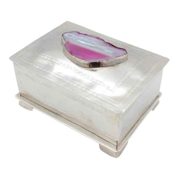 Hand Crafted Silver Box with Pink Agate from San Miguel