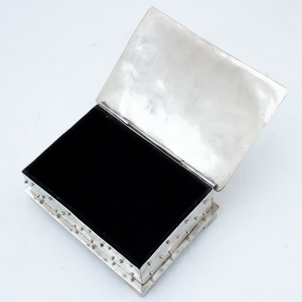 Hand Crafted Silver Box with Stone Cabochon from San Miguel