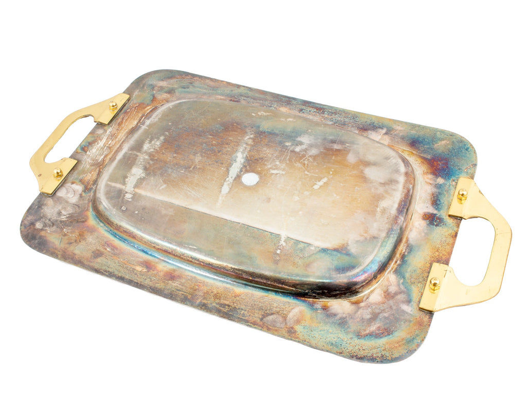 Vintage French Two-Tone Metal Handled Tray