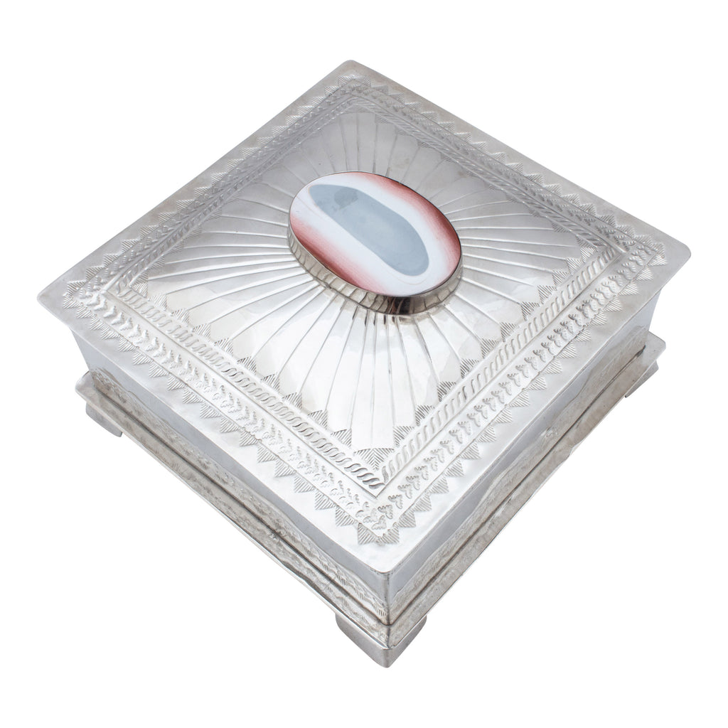 Hand Crafted Silver Box with Red Agate from San Miguel