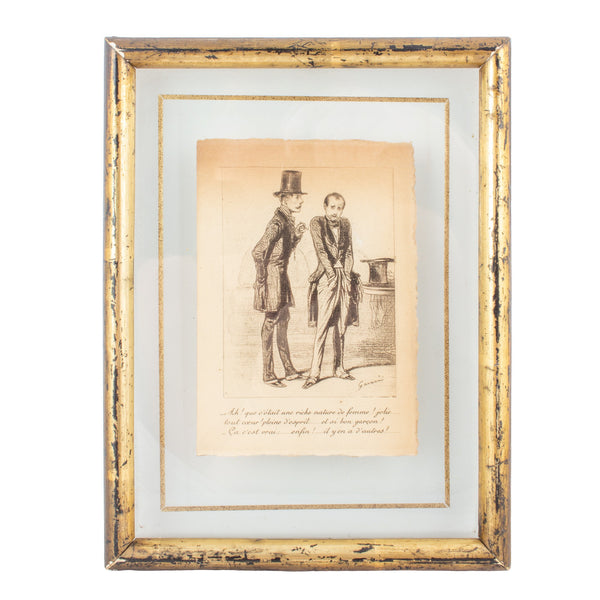 Victorian-Era Illustration by French Artist Paul Gavarni in Floating Glass Frame