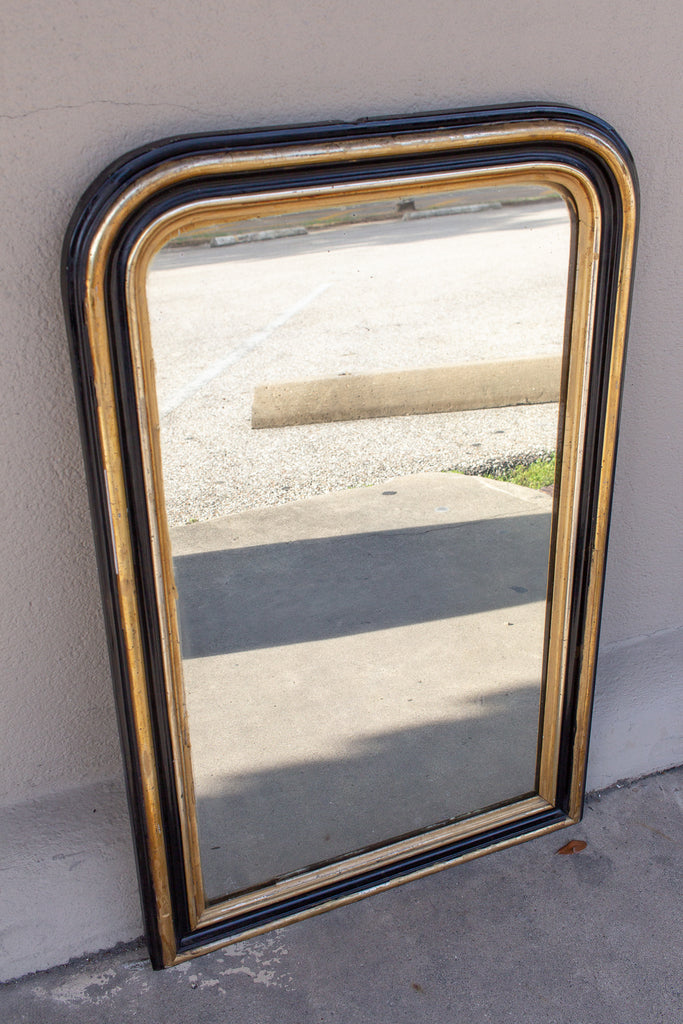 Small Antique French Black Lacquer and Gilt Frame Louis Philippe Mirror
