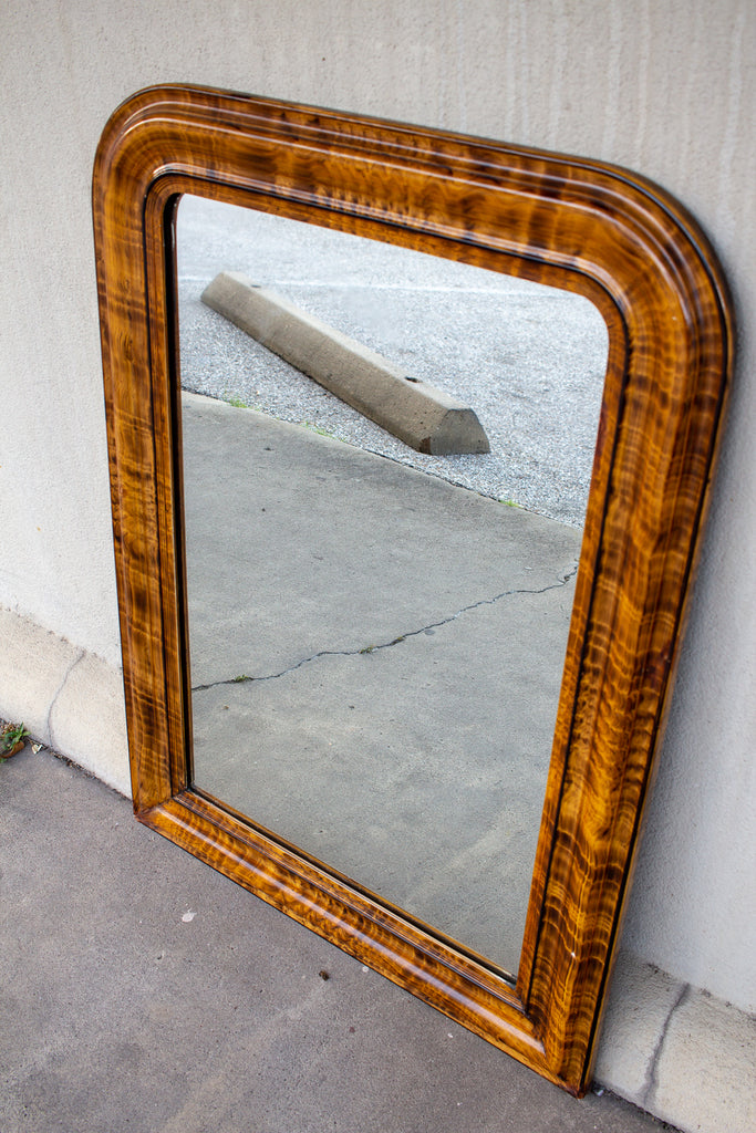Antique French Louis Philippe Mirror with Faux Burl Wood Painted Frame