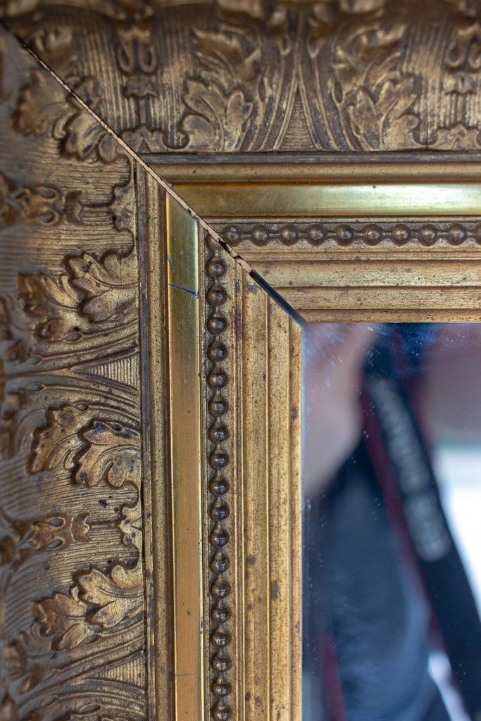 Antique French Gilt Mirror with Leaf Carvings