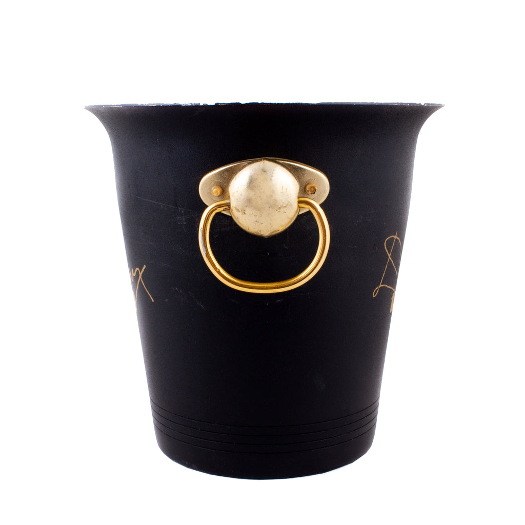 Vintage French Black & Gold Slim Metal Ice Bucket from Devaux