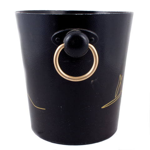 Vintage French Black & Gold Metal Ice Bucket from Deutz