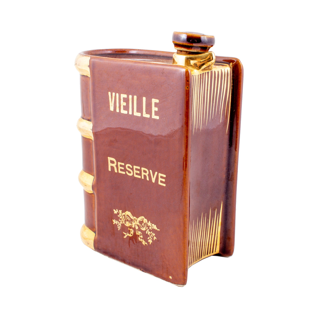 Vintage French Ceramic Book-Shaped Flask
