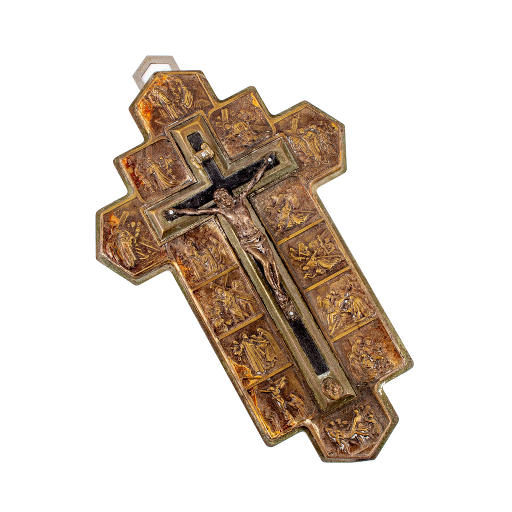 Vintage French Metal Stations of the Cross Crucifix