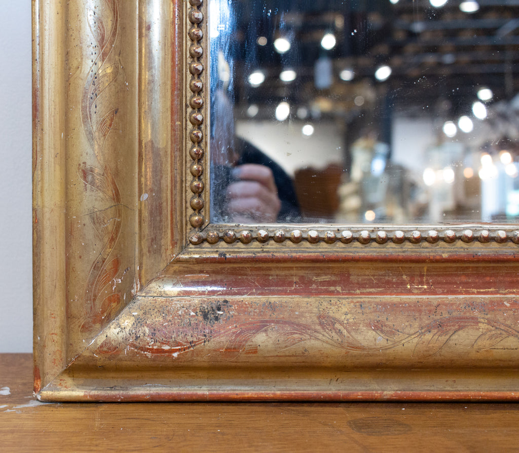 Antique French Gilt Louis Philippe Mirror with Floral Decoration