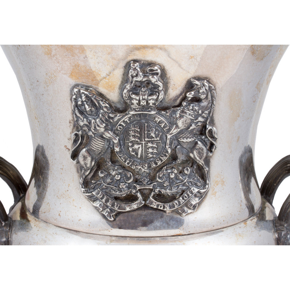 Antique English Silver Plated British Coat of Arms Champagne Bucket