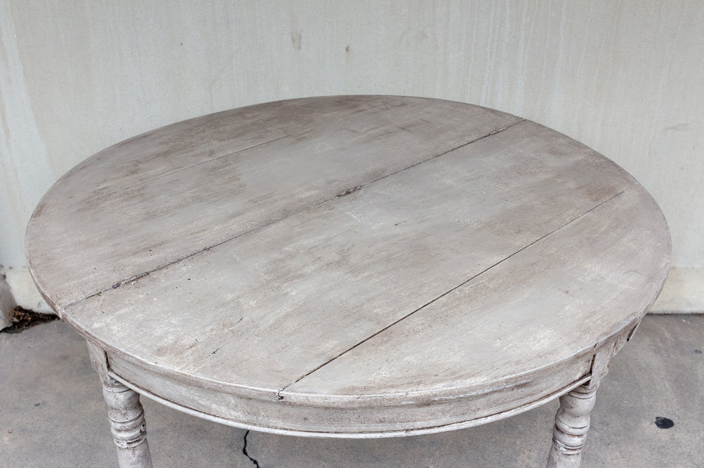 Antique French Folding Demi-lune Console and Round Table in Greige Finish