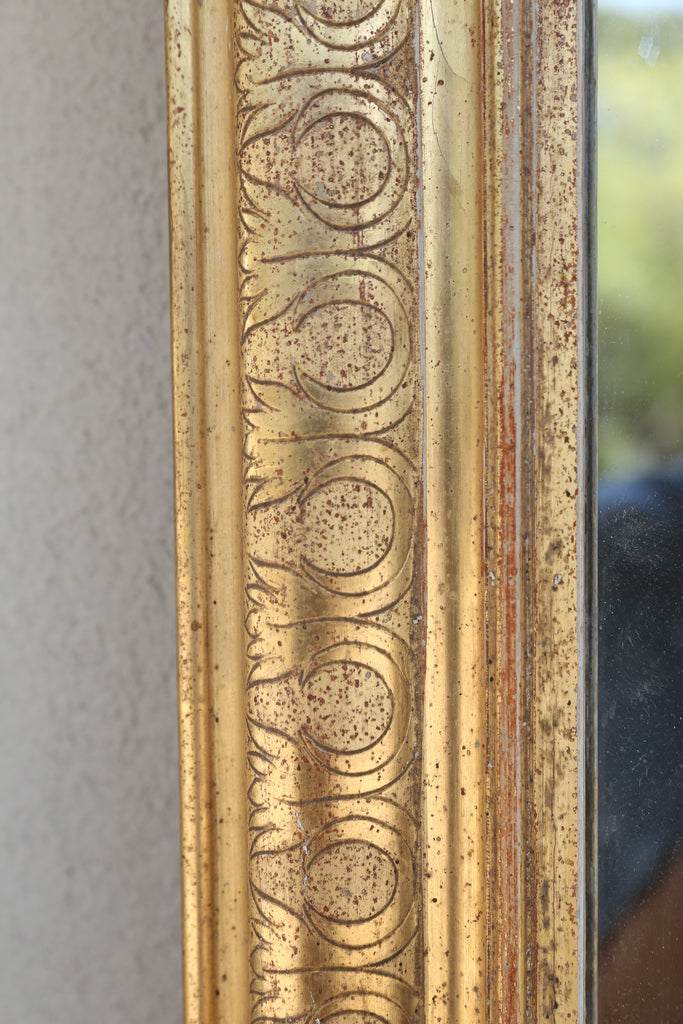 Antique French Louis Philippe Carved Gilt Mirror with Original Glass