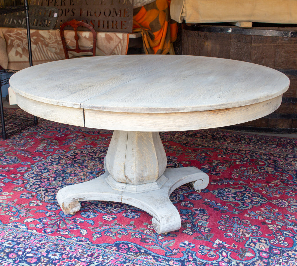 Antique Round Oak Pedestal Table in Light Greige Finish with Extension Leaves