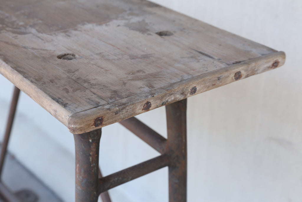 Tall Iron and Wood Industrial Console, circa 1900 Found in France