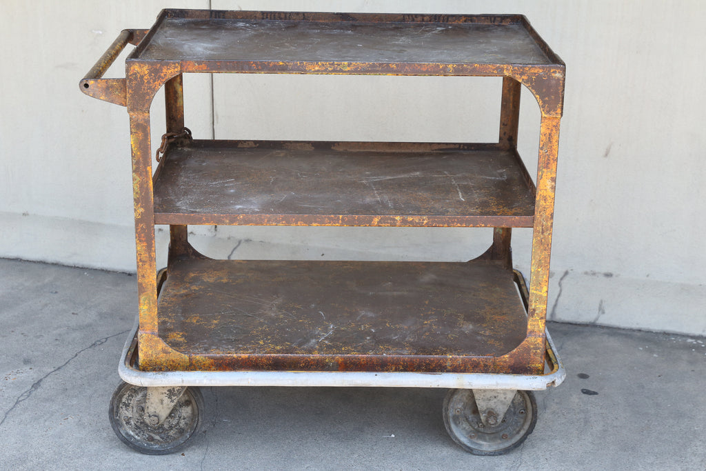 Vintage Industrial Metal Bar Cart with Chain and Lock