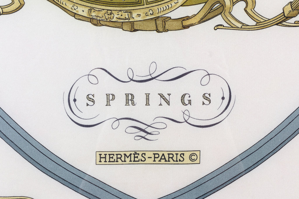 "Framed Vintage Hermes Silk ""Springs""Scarf by Philippe Ledoux"