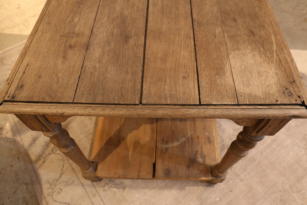 Antique Long French Wood Counter Console Table with Carved Legs and Lower Shelf