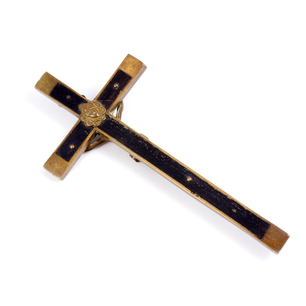 Antique Belgian Nun's Crucifix in Brass & Wood