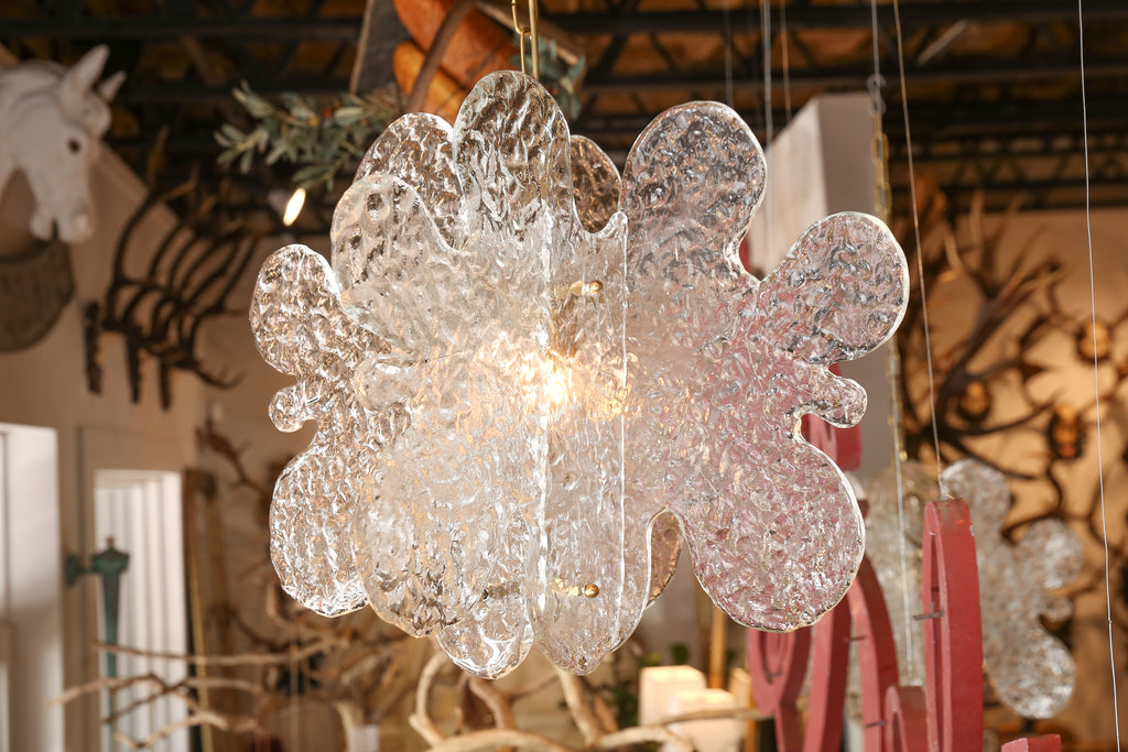 Pair of Midcentury Murano Glass Pendant Chandeliers Found in France