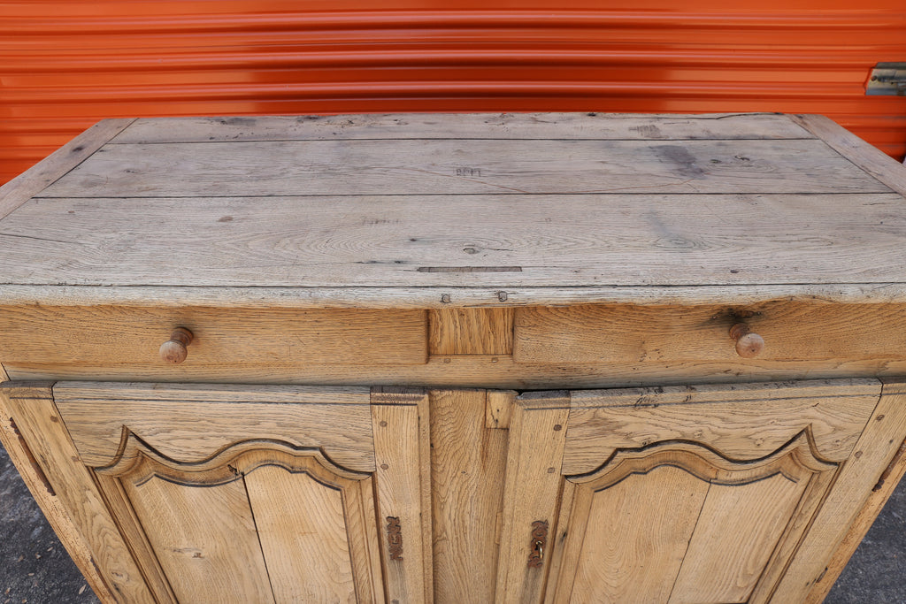 Antique Stripped French Oak Cabinet with Drawers