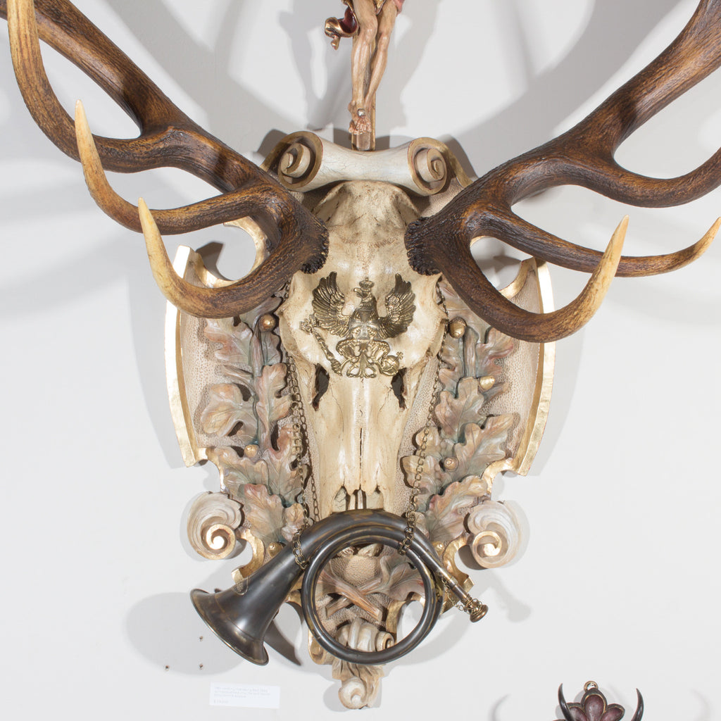 19th Century St. Hubertus Red Stag Hunting Trophy with Fürst Pless Horn #2