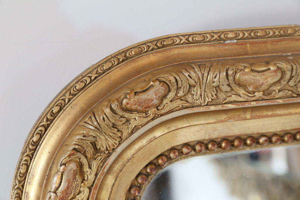 19th Century Louis Philippe Mirror with Gilt Art Nouveau Carving