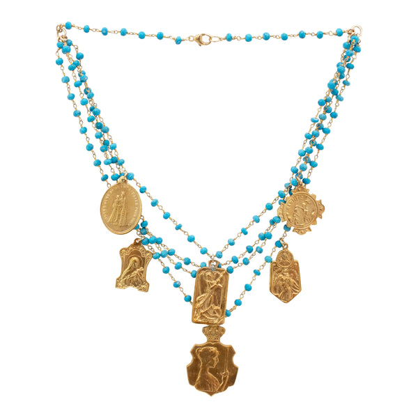 Handmade Multistrand Turquoise Necklace with Vintage Religious Charms