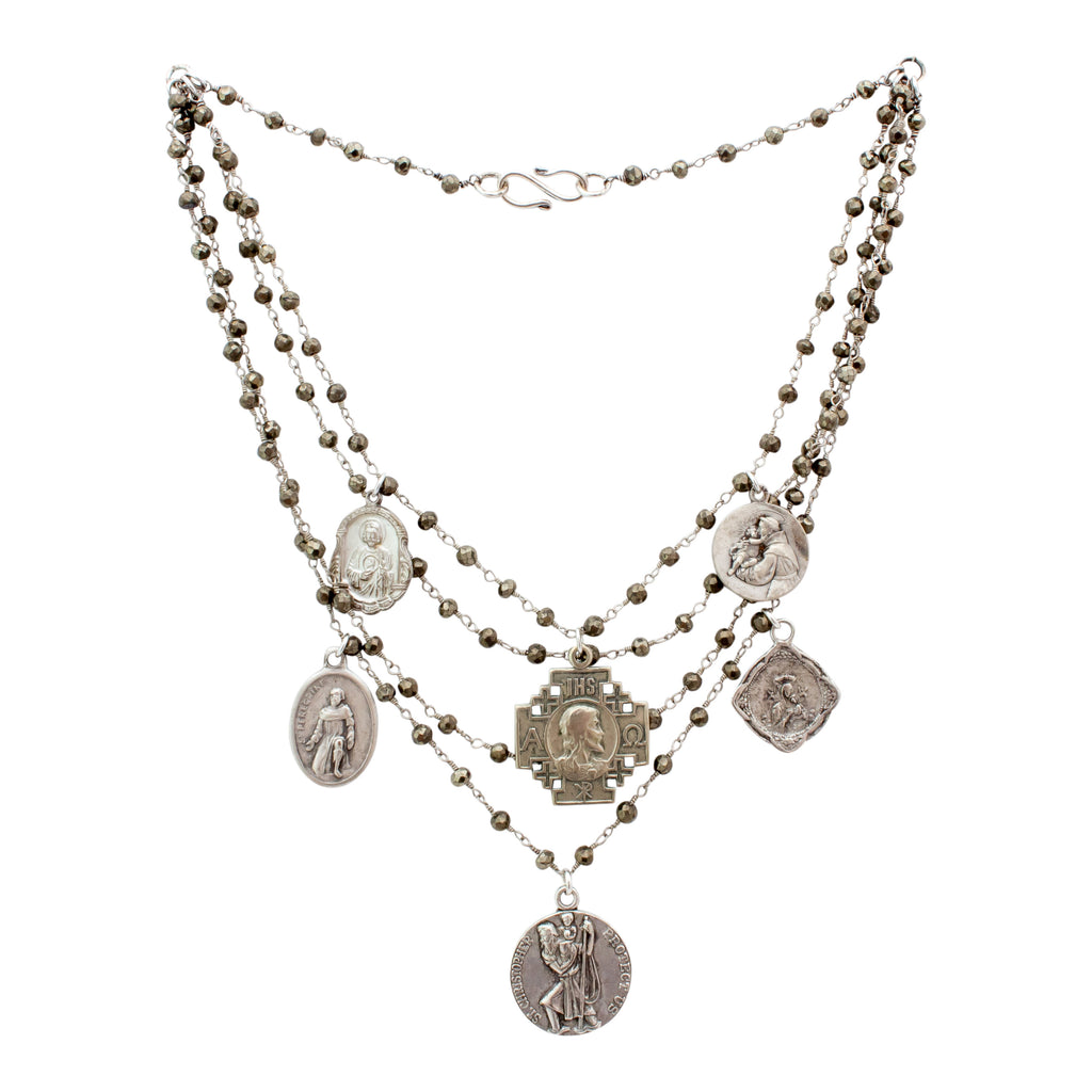 Handmade Multistrand Pyrite Necklace with Vintage Religious Charms