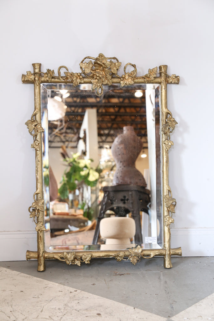 Antique Grapevine Motif Carved Frame Mirror Found in France