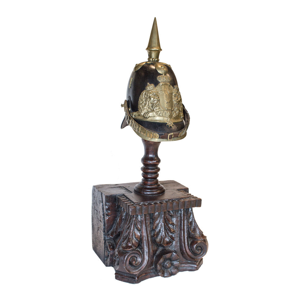 19th Century Swedish Officer's Pickelhaube Helmet on Antique Bulgarian Stand
