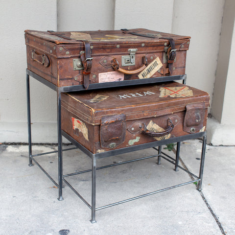 Pair of Antique English Luggage Nesting Tables