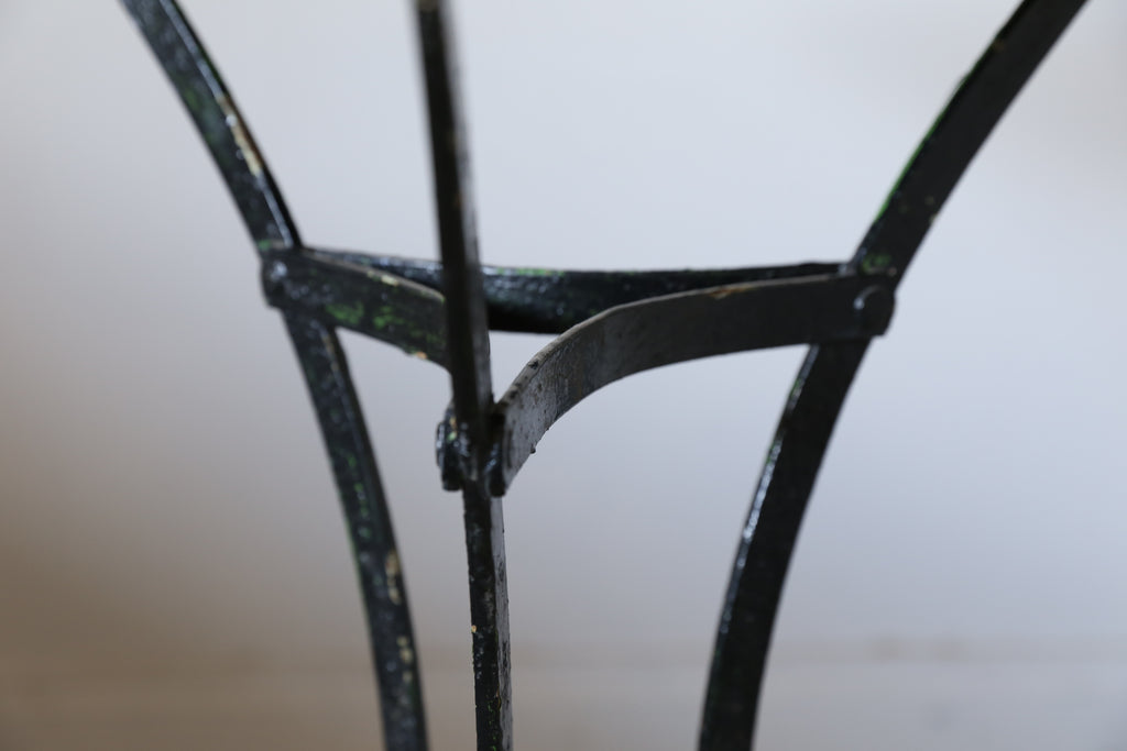 1920s Red and Black Iron Bistro Table from France