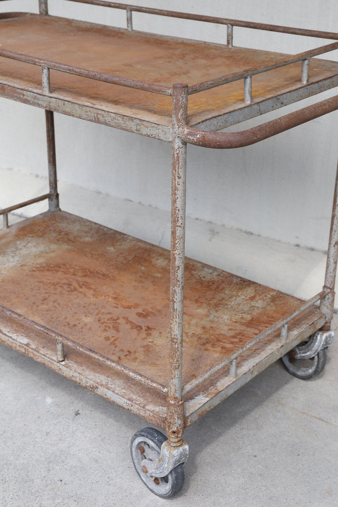 1930s Distressed French Metal Hospital Cart