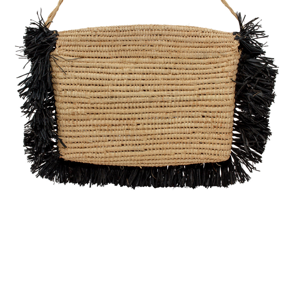 Handmade Natural Raffia Convertible Clutch with Black Fringe