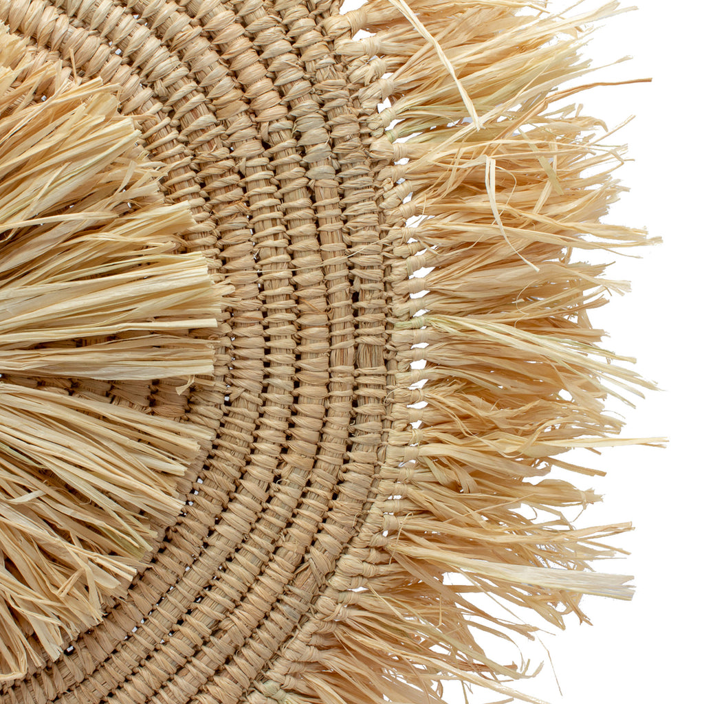 Handmade Raffia Round Straw Tote with Fringe Front
