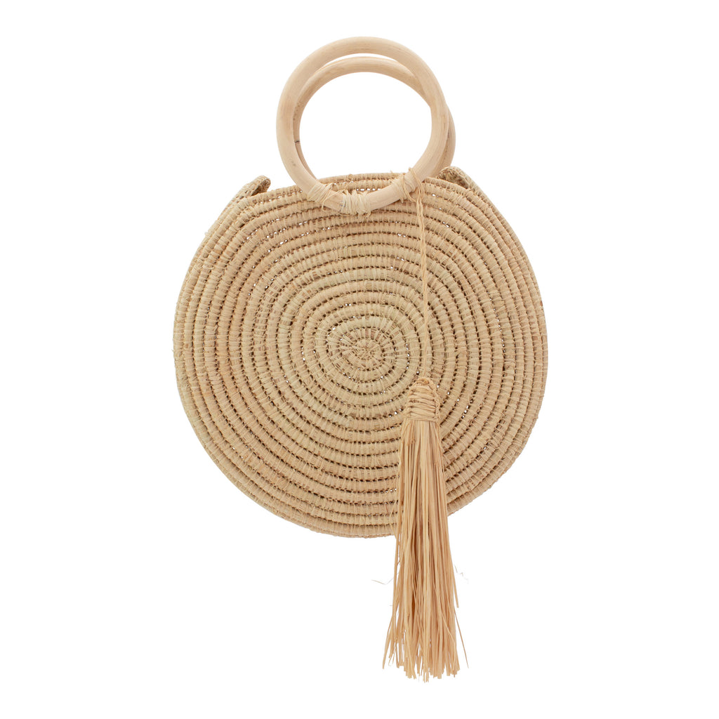 Small Handmade Round Raffia Tote with Tassel & Wooden Handles