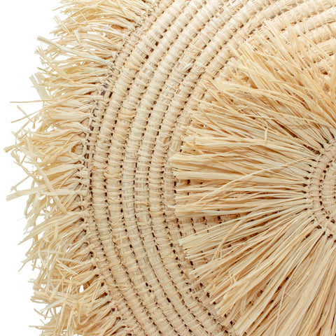Large Handmade Raffia Round Straw Tote with Fringe Front