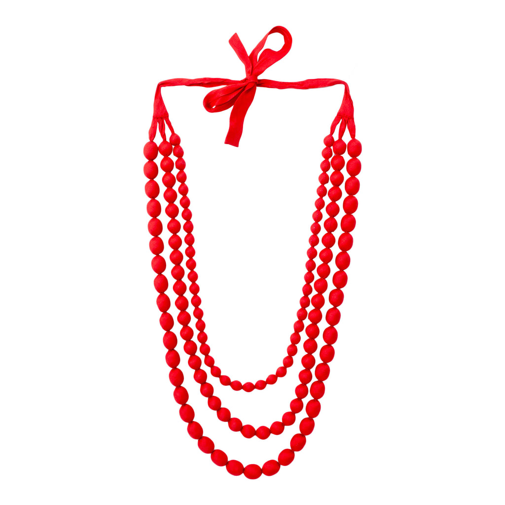 Cambodian Silk Beaded Multi-Strand Necklace in Bright Red