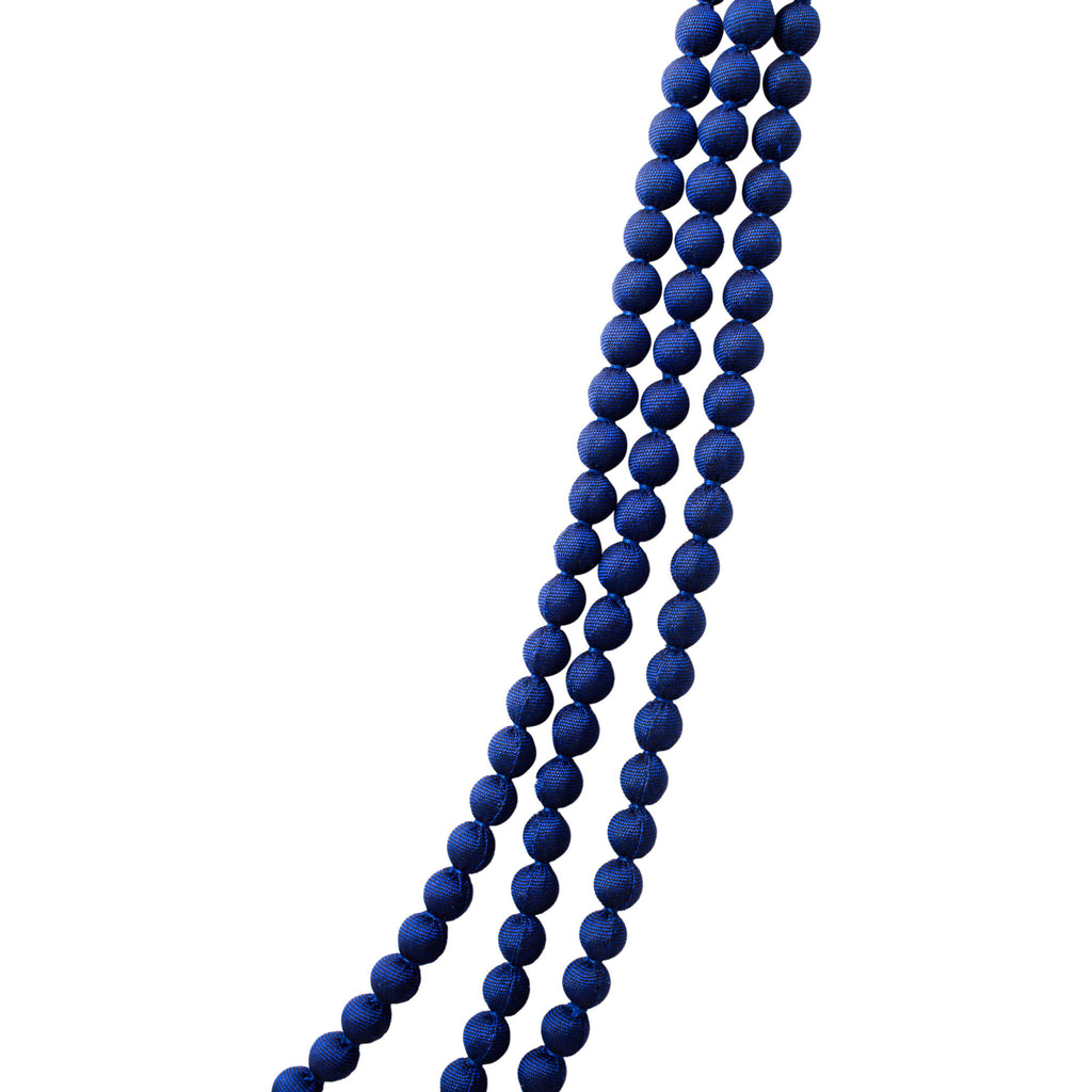 Cambodian Silk Beaded Multi-Strand Necklace in Deep Blue