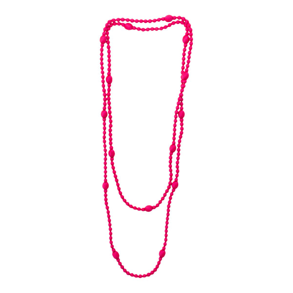 Cambodian Long Silk Beaded Necklace in Fuchsia