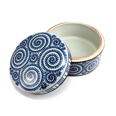 Blue & White Porcelain Spiral Patterned Large Dish from Thailand
