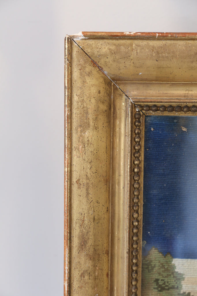 18th Century Framed Religious Embroidery Wall Art in Gilt Frame