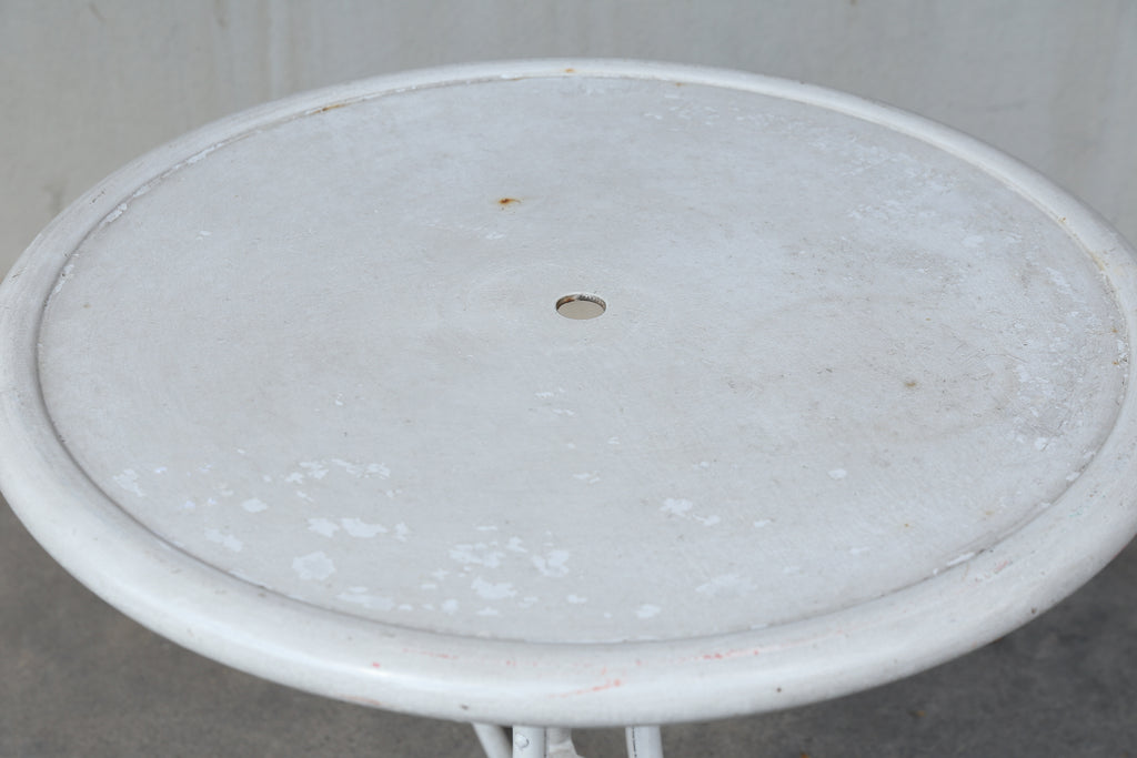Early 20th Century Painted White Metal Outdoor Garden Patio Table